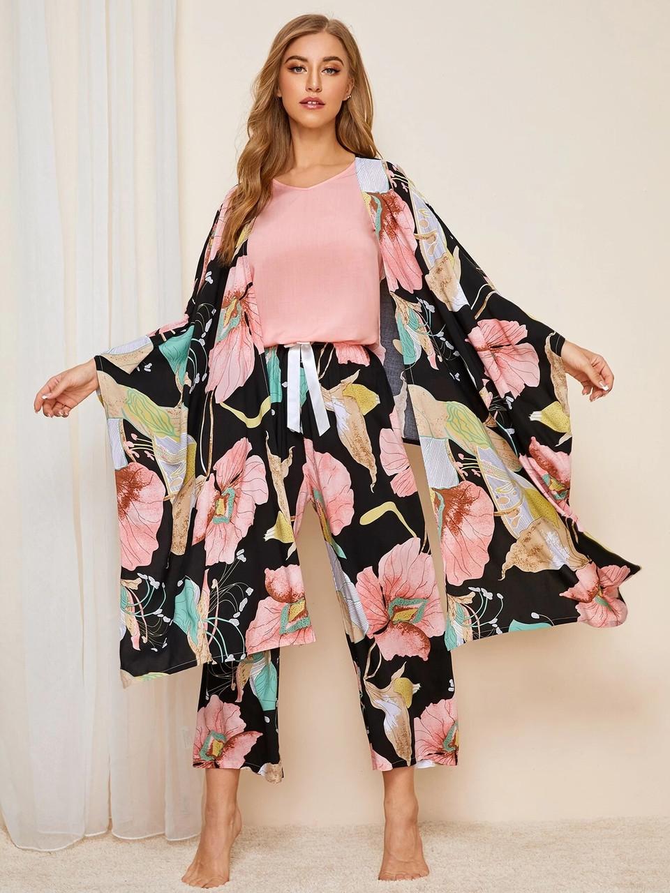 Комплект для сна, дома из 4 предметов. Пижама женская из вискозы с цветочный принтом, размер L