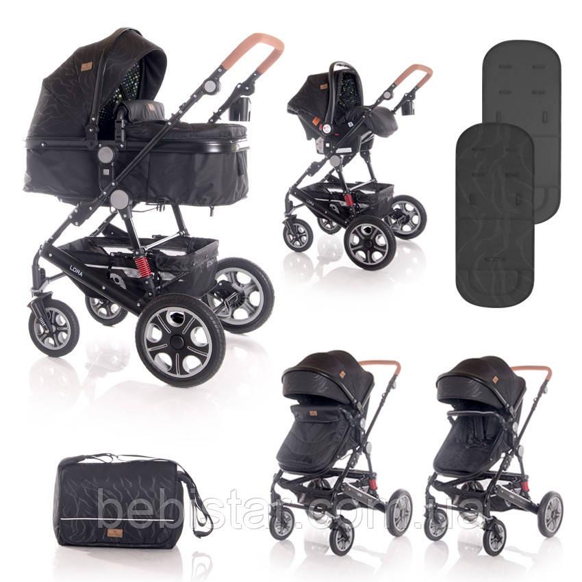 Детская универсальная коляска 3в1 черная Lorelli Lora set с автокреслом детям от рождения и до 3 лет