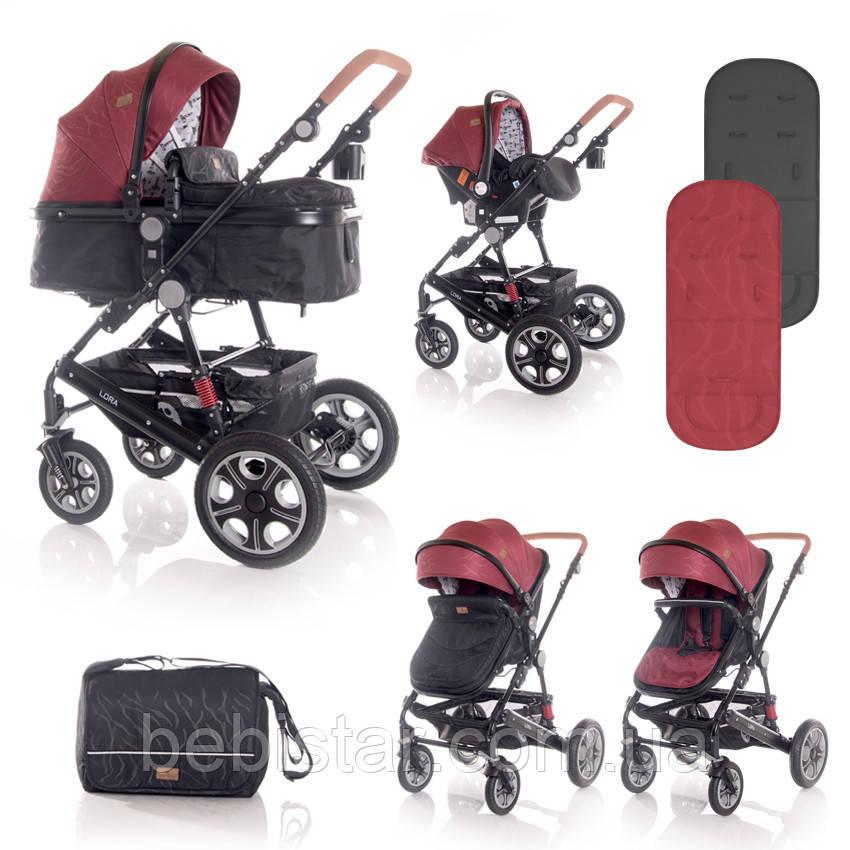 Детская универсальная коляска 3в1 красно-черная Lorelli Lora set с автокреслом детям от рождения и до 3 лет