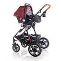 Детская универсальная коляска 3в1 красно-черная Lorelli Lora set с автокреслом детям от рождения и до 3 лет, фото 5
