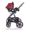 Детская универсальная коляска 3в1 красно-черная Lorelli Lora set с автокреслом детям от рождения и до 3 лет, фото 7