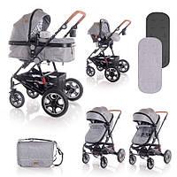 Детская универсальная коляска 3в1 серая Lorelli Lora set с автокреслом детям от рождения и до 3 лет