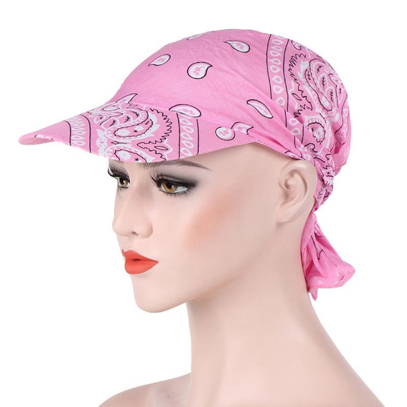 ⭐Бандана-трансформер с козырьком в узоре пейсли розовая