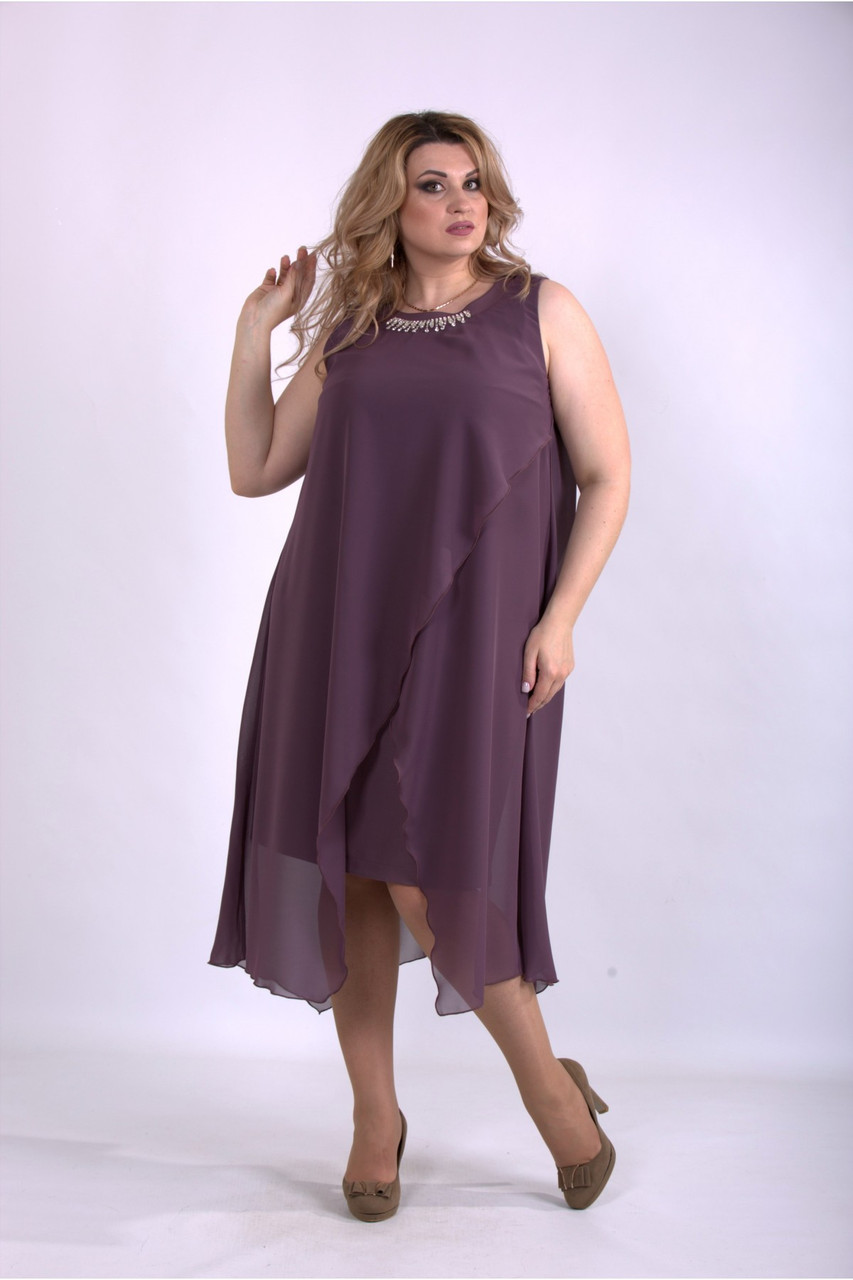 Нарядное вечернее батальное шифоновое платье с 42 по 74 размер