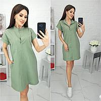 Сукня сорочка вільного крою з кишенями,є БАТАЛ, тканина льон, арт N184, колір м'ята /м'ятного кольору