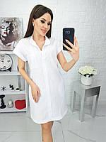 Сукня сорочка вільного крою з кишенями,є БАТАЛ, тканина льон, арт N184, колір білий /білого кольору