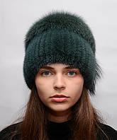"""Меховая норковая шапка женская на вязаной основе """"Колибри"""" Изумруд, фото 1"""
