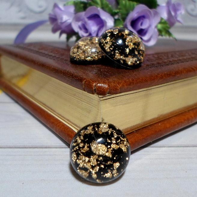 Клейовий декор, кабошон, , 1,5 см, 1 шт, колір чорний з золотою фольгою