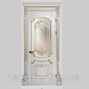 Межкомнатная дверь Casa Verdi Barocco 1 из массива ольхи белая c золотой патиной глухая