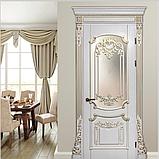 Межкомнатная дверь Casa Verdi Barocco 1 из массива ольхи белая c золотой патиной глухая, фото 2