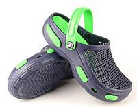 Кроксы, сабо синие / зеленая середина. Маломерят. Размеры 37, 38, 39, 43. JoAm 115555.
