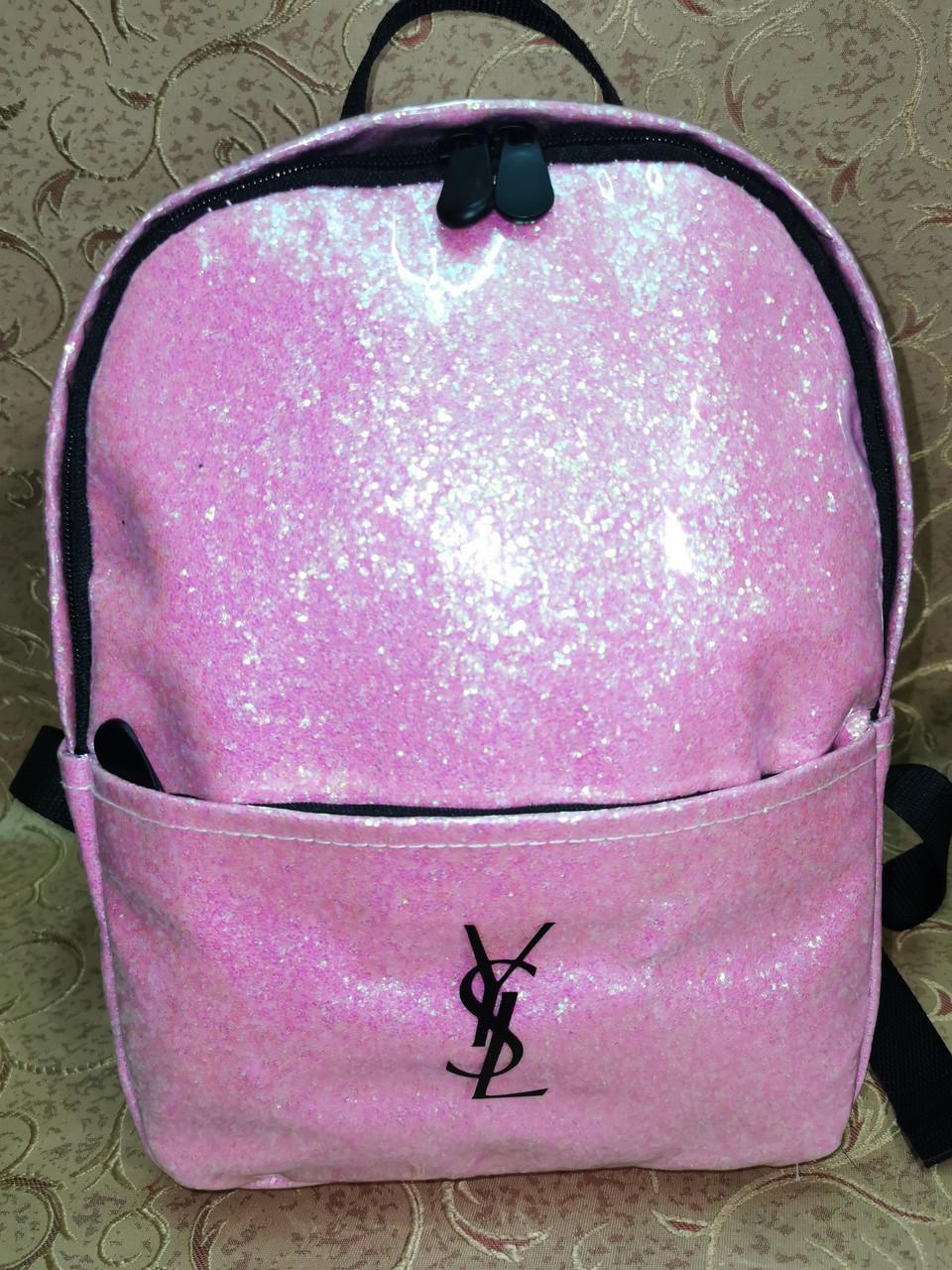 (30*23)Женский рюкзак YSL Двухслойный(глитер+плёнка) качество городской стильный Популярный только опт