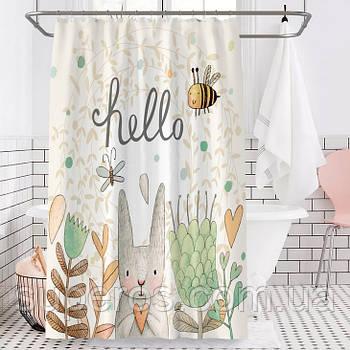 Тканинна шторка для ванної душа 180х200 см Hello