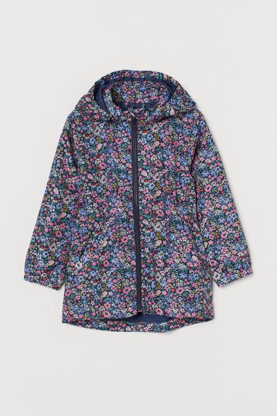 Темно-синяя детская ветровка с цветочным принтом НМ для девочки