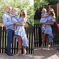 """Сорочка чоловіча в клітку """"Кан-Кан"""" Family Look 10205"""