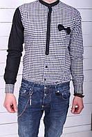 Рубашка мужская  наполовину в клетку с бабочкой 7024