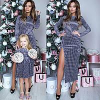 Платье бархатное взрослое familylook 10920, размер S