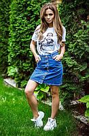 Джинсовая юбка на пуговицах 855-18