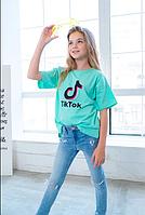 Детская футболка яркие цвета принт Tik Tok хлопок размер: 1 (134-140), 2(140-146), 3 (152-158)