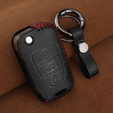 Премиальный кожаный защитный чехол для флип ключа Hyundai (Хюндай) черный