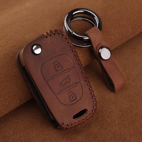Премиальный кожаный защитный чехол для флип ключа Hyundai (Хюндай) коричневый