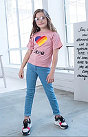 Детская футболка яркие цвета накат сердце Likee хлопок размер: 1 (134-140), 2(140-146), 3 (152-158)