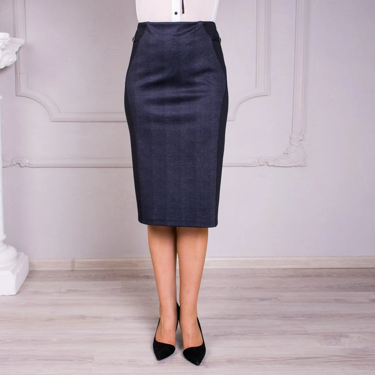 Комбинированная трикотажная юбка №2