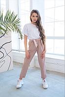 Детские стильные штаны брюки лен габардин размер: 134, 140, 146, 152, 158