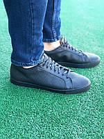 Мужские кеды черные из натуральной кожи для весны и осени не жаркие Турция Мужская обувь из натуральной кожи