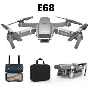 Складной дрон квадрокоптер E68 c WiFi камерой в кейсе