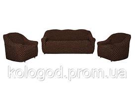 Комплект Чохлів На Тримісний Диван І 2 Крісла Без Оборки Жаккард Шоколадний З Візерунком Модель 304