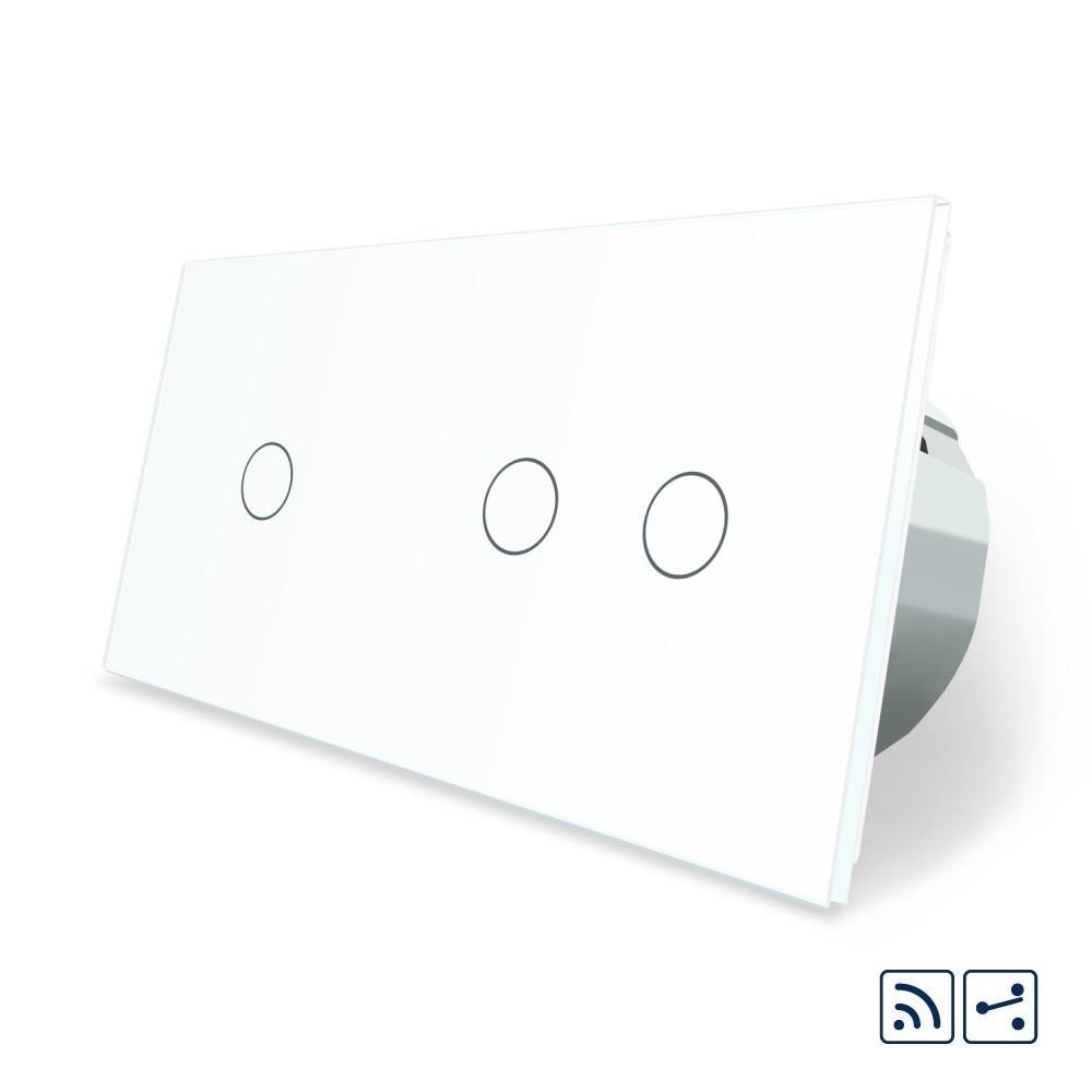 Сенсорный радиоуправляемый проходной выключатель Livolo 3 канала (1-2) белый стекло (VL-C701SR/C702SR-11)