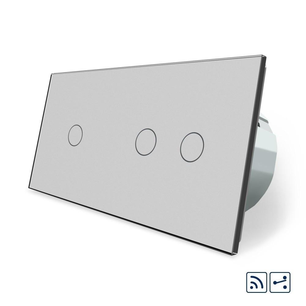 Сенсорный радиоуправляемый проходной выключатель Livolo 3 канала (1-2) серый стекло (VL-C701SR/C702SR-15)