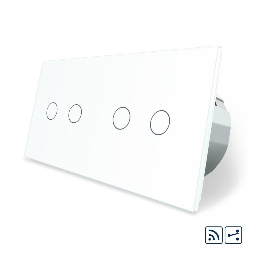 Сенсорный радиоуправляемый проходной выключатель Livolo 4 канала (2-2) белый стекло (VL-C702SR/C702SR-11)