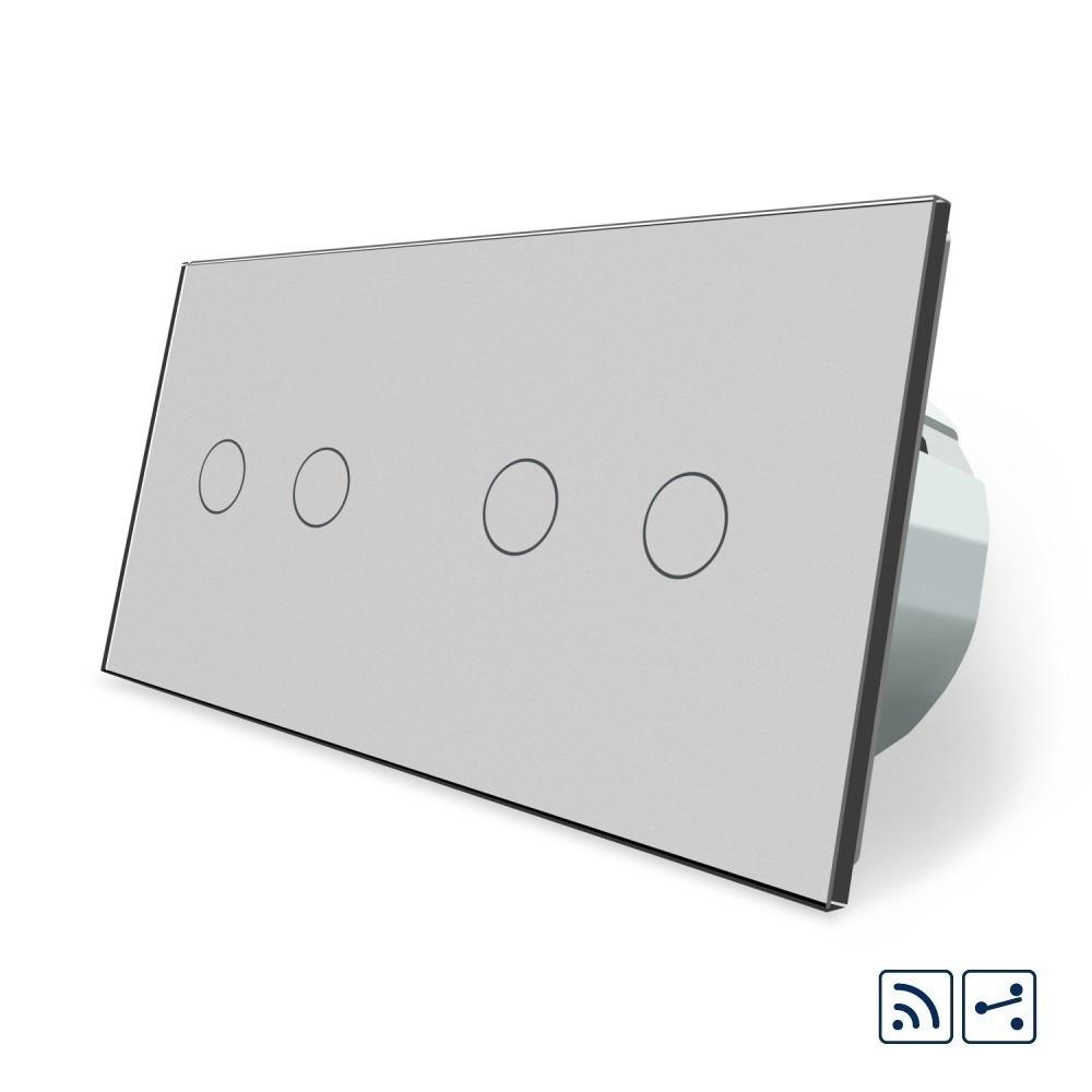 Сенсорный радиоуправляемый проходной выключатель Livolo 4 канала (2-2) серый стекло (VL-C702SR/C702SR-15)