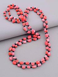 Длинные бусы на шею коралл и чешский хрусталь длина 130 см цвет красный размер звена 10*6 мм