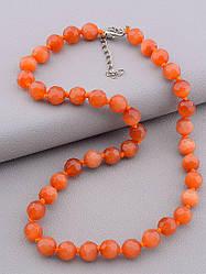 Бусы кошачий глаз имитация камня оранжевый цвет длина 45 см