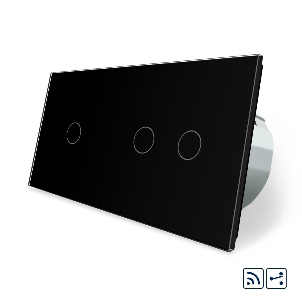 Сенсорный радиоуправляемый проходной выключатель Livolo 3 канала (1-2) черный стекло (VL-C701SR/C702SR-12)