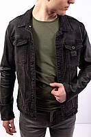 Мужская джинсовая куртка черная с кожаными рукавами Турция / мужская джинсовка черная