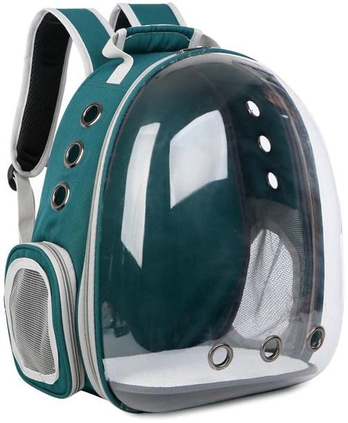 Рюкзак переноска для кошки собаки Зеленый, сумка для кота собак и домашних животных прозрачный рюкзаки с иллюминатором переноски Cosmopet Upet AnimAll