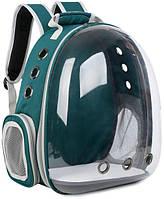Рюкзак переноска для кошки собаки Зеленый, сумка для кота собак и домашних животных прозрачный рюкзаки с