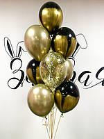 """Композиция из воздушных шаров """"Золотые цветы на чёрном"""""""