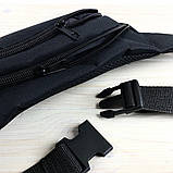 Мужская поясная сумка Reebok Бананка, черная. Черный логотип, фото 2