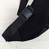 Мужская поясная сумка Reebok Бананка, черная. Черный логотип, фото 3