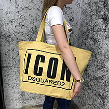 Beach Bag Dsquared2 Icon Cotton Yellow/Black