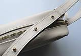 """Женская небольшая кожаная сумка """"Quarzo""""  бежевая, фото 4"""