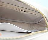"""Женская небольшая кожаная сумка """"Quarzo""""  бежевая, фото 5"""