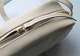 """Женская небольшая кожаная сумка """"Quarzo""""  бежевая, фото 7"""