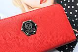 Женский вместительный кошелек Philipp Plein красный, фото 2
