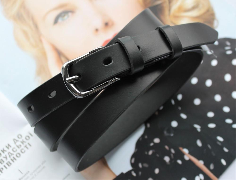 Женский узкий кожаный ремень black